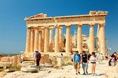 Tourists enjoying Doric temple Parthenon — Stock Photo