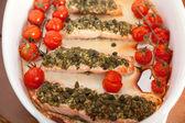 Baked salmon with pesto — Stock Photo