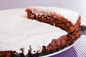 Chocolate cake with white cream — Stock Photo