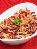 Carrot, beetroot, tuna fish salad — Stock Photo