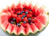 Berries in watermelon, close up — Stock Photo