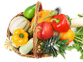 Vegetables and fruits in basket — Stock Photo