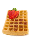 Waffle with Strawberry dessert — Photo