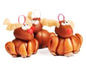 Polymer clay reindeers, christmas decoration — Stock Photo