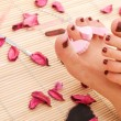 Female feet with red pedicure — Stock Photo #63425587