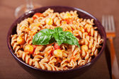 Pasta Collection - Fusilli with chick-peas — Stock Photo