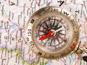 Compass on map close-up — Stock Photo