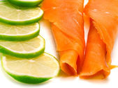 Smoked Salmon with lime — Stock Photo
