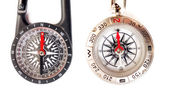 Close up of two compasses — Stock Photo