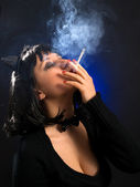 Cat-woman smoking — Photo