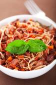 Spaghetti with rabbit and tomatoes — Stock Photo