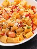 Pasta collection - rigatoni with salmon — Stock Photo
