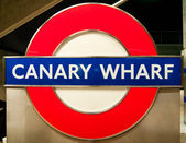 Canary Wharf Underground Sign, London — Stock Photo