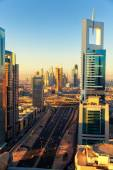Dubai skyline at sunrise — Stock Photo