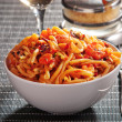Pasta with seafood and tomato sauce — Stock Photo #63768647
