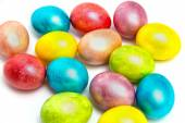 Easter colored eggs  on white bacground — Stock Photo