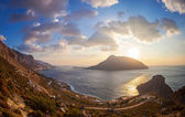 View from top of a hill at sunset, Kalymnos island, Greece — Stockfoto