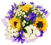 Bouquet of chrysanthemums and sunflowers — Stock Photo