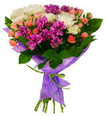 Bouquet of chrysanthemums and shrub rose in package — Stockfoto