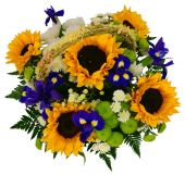 Basket of chrysanthemums and sunflowers — Stock Photo