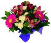 Bouquet of gerbera flowers and rose orchid — Stock Photo