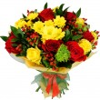 Bouquet of chrysanthemums and red rose — Stock Photo #56402973