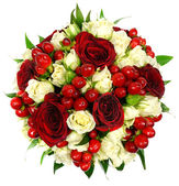 Bridal bouquet of white and red roses — Stock Photo
