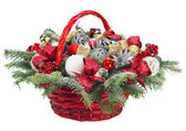 Christmas composition in basket — Stock Photo