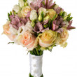 Bridal bouquet of roses and alstroemeria isolated on white — Stock Photo #71972569