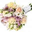 Bridal bouquet of roses and alstroemeria isolated on white — Stock Photo #71972573