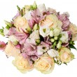 Bridal bouquet of roses and alstroemeria isolated on white — Stock Photo #71973809