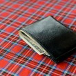 Black purse with money on plaid background — Stock Photo #75532121