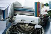 Vintage typewriter inscribed on paper new life — Stock Photo