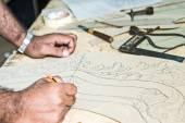 Furniture disigner's hands. — Stock Photo