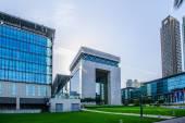 DUBAI -MAY 11:The Gate - main building of Dubai International Financial center, the fastest growing international financial center in Middle East. 11 May 2014 , Dubai, UAE. — Stock Photo