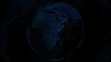 World map on globe blue color transparent — Stock Video