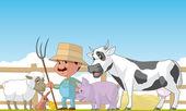 Farmer and animals — Stok fotoğraf