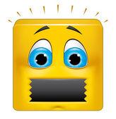 Square emoticon muted — Stock Photo