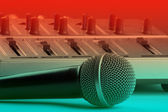 Microphone with mixer — Stock Photo