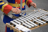 Percussionist in a military band — Stock Photo