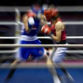 Boxing on a ring — Stock Photo