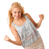 Beautiful young woman with blonde hair and blue eyes gestures su — Stock Photo