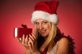 Attractive young blonde woman in santa claus dress - christmass  — Stock Photo
