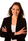 Preety happy asian caucasian business woman with headset — Stock Photo
