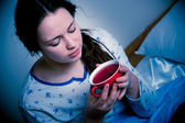 Asian caucasian woman with flu  and feaver — Stockfoto