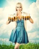 Oktoberfest woman with six beer mugs — Stock Photo