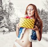 Young sexy woman santa claus  — Stock Photo