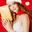 Beautiful santa claus woman — Stock Photo #58508603