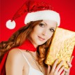 Beautiful santa claus woman — Stock Photo #58508637