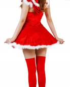 Christmas woman wearing red santa claus dress — Stock Photo
